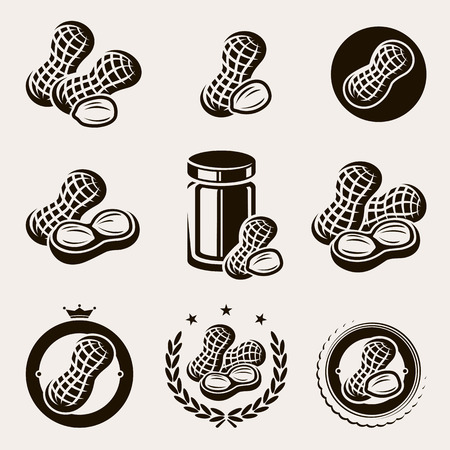 Peanuts label and icons set  Vector  Illustration