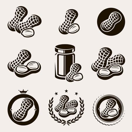 cacahuate: Peanuts etiqueta y los iconos conjunto de vectores
