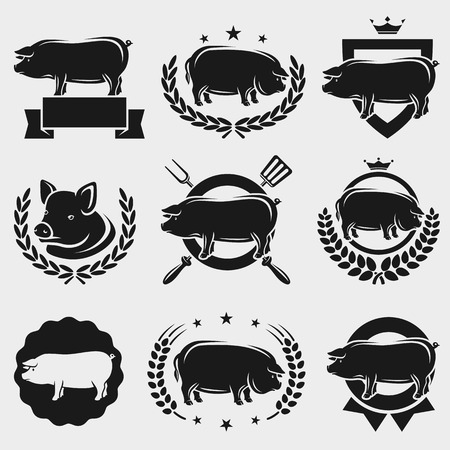 Pig labels and elements set  Vector Vector