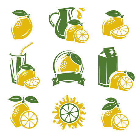 lime juice: Lemon labels and elements set  Vector