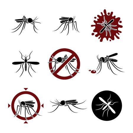 Mosquito set  Vector Vectores