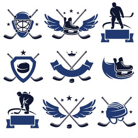 Hockey labels and icons set  Vector Vector