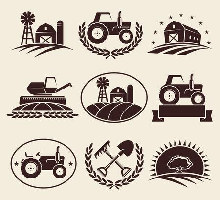 Farm Etiketten gesetzt Vektor Illustration