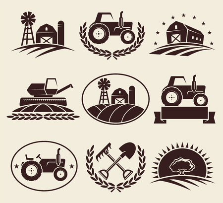 Farm labels set  Vector  Illustration