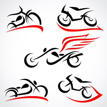 transportation silhouette: Motorcycles set Illustration