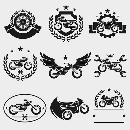 Motorcycles labels and icons set Vector