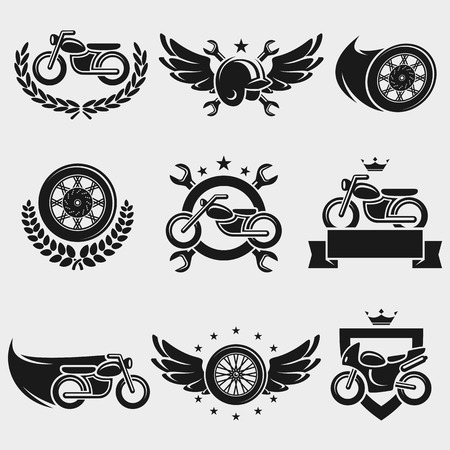 Motorcycles labels and icons set