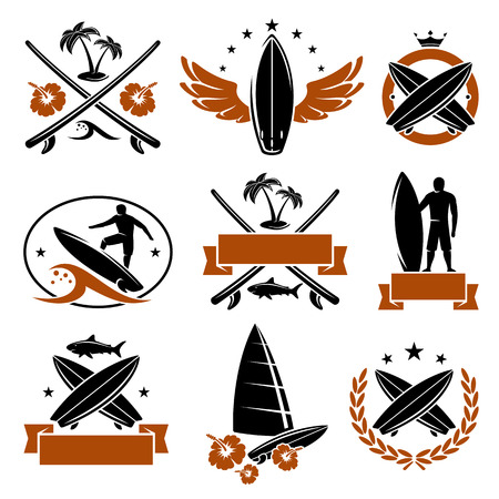 surf silhouettes: Surfing labels set