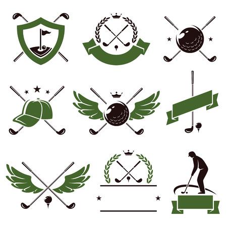 label retro: Etiquetas de golf y conjunto de iconos Vectores