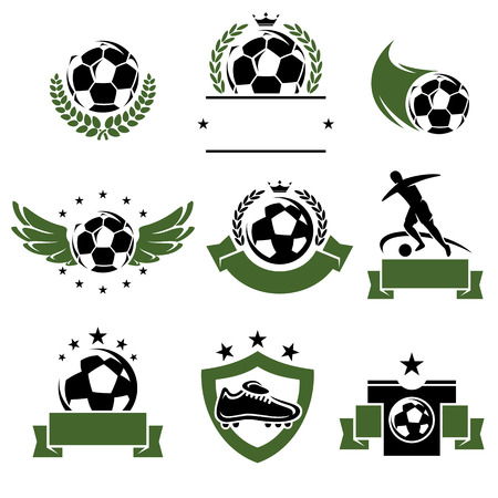 soccer boots: Football and soccer labels and icons set  Vector
