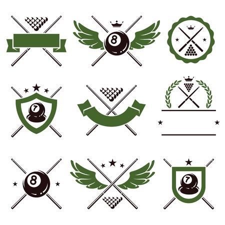 bola ocho: Billar y snooker etiquetas e iconos conjunto de vectores Vectores