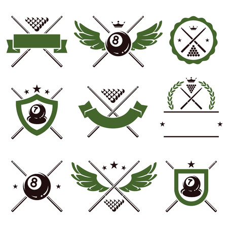 pool hall: Billiards and snooker labels and icons set  Vector