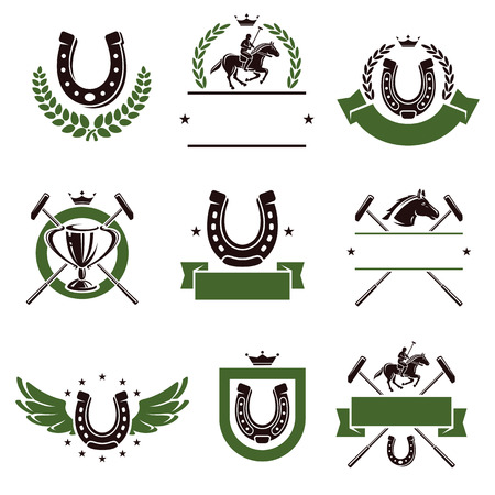 polo ball: Horse and polo set  Vector