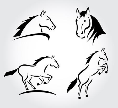 cabe�a de animal: Cavalo definir Vector