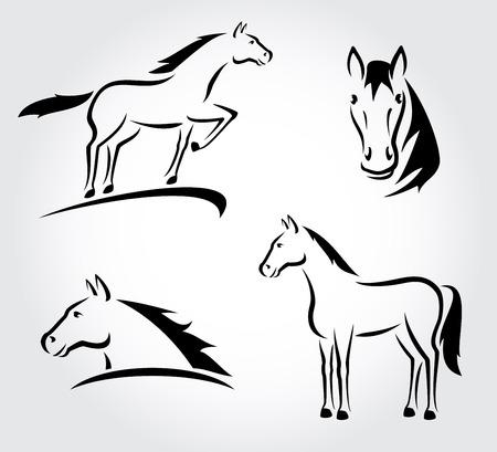 silueta ciclista: Conjunto Horse Vector