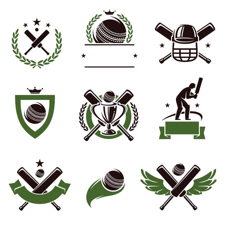 batsman: Cricket and soccer labels and icons set  Vector