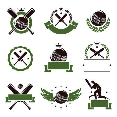 cricket sport: Cricket and soccer labels and icons set  Vector