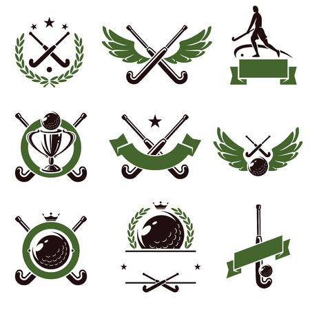 Hockeyveld labels en pictogrammen set Vector