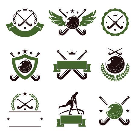 hockey sobre cesped: Etiquetas y los iconos de campo Hockey Vector conjunto Vectores