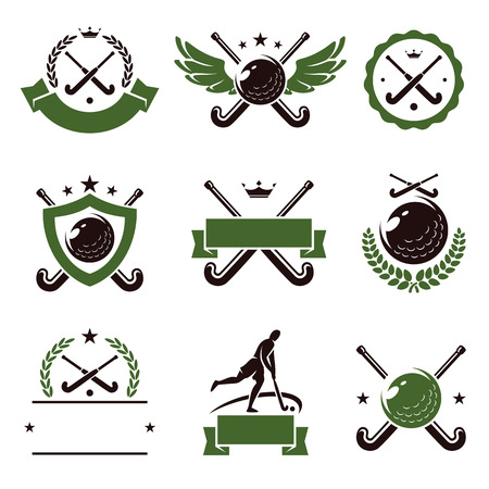 Hockey field labels and icons set  Vector Vector