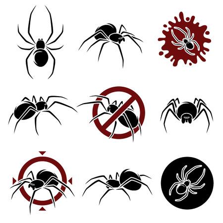 black widow: Spider set  Vector