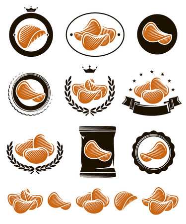 Potato chips set  Vector delicious, eating, sal