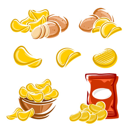crunchy: Potato chips set  Vector diet, delicious, eating Illustration