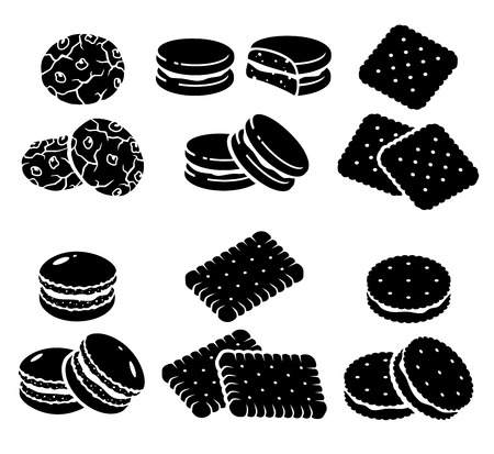 white chocolate: Cookies set  Vector