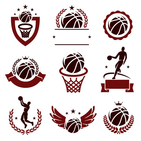 Basketball labels and icons set  Vector  Vector