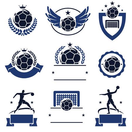 balonmano: Balonmano etiquetas e iconos conjunto de vectores