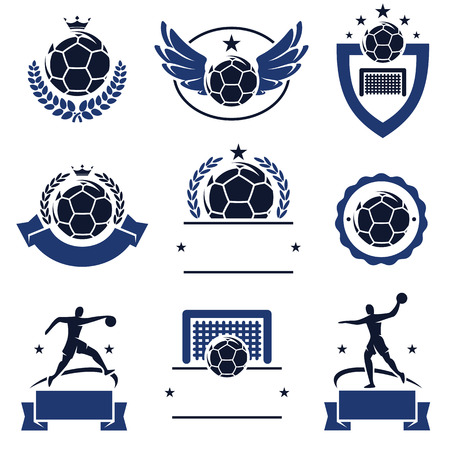 Handball labels and icons set  Vector