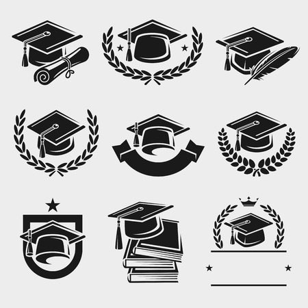a graduate: Graduation cap labels set.  Illustration