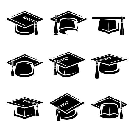 berretto: Tappo di graduazione impostato. Vettoriali