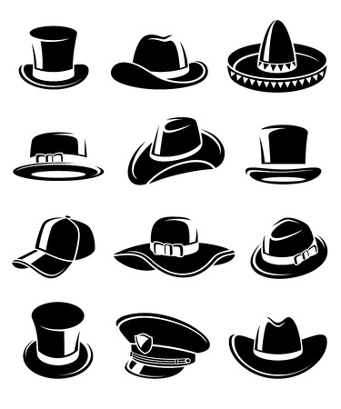 top hat cartoon: Hats collection set.