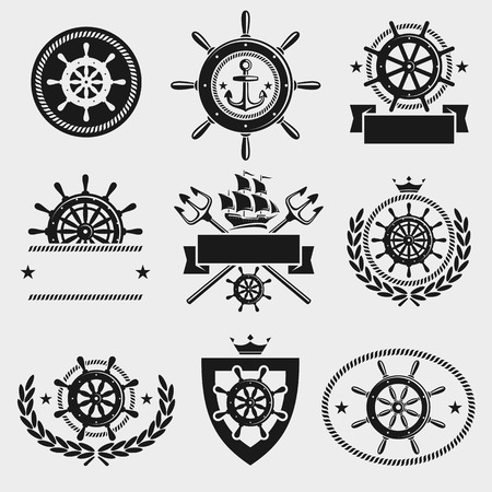 ship wheel: Ship steering wheel label and element set. Vector Illustration
