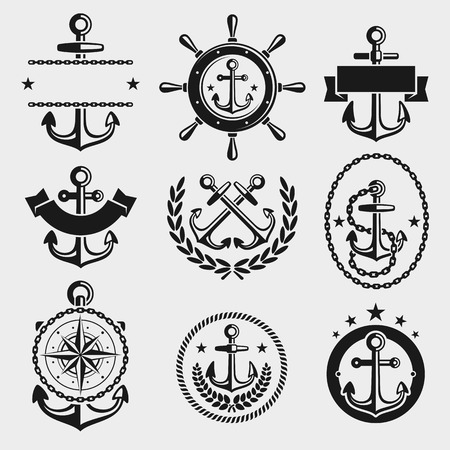 anchor drawing: Anchors label and element set. Vector