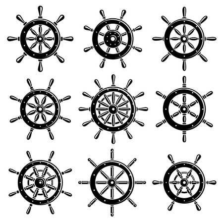 steering: Ship steering wheel set. Vector