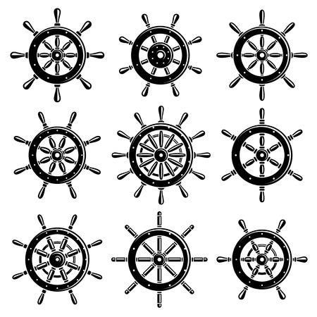 Ship steering wheel set. Vector