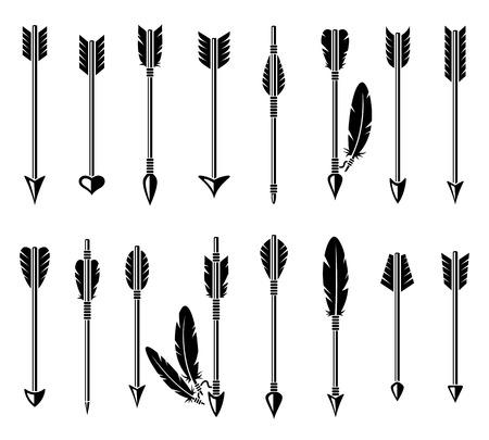 white feather: Arco freccia set. Vettoriali