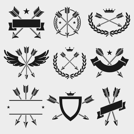 Bow arrow labels and elements set.  Ilustração