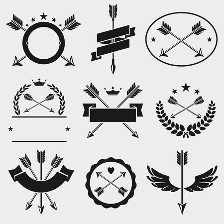 arco y flecha: Bow etiquetas de flecha y elementos establecidos.