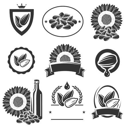 semillas de girasol: Semillas de etiquetas y elementos de girasol establecen.