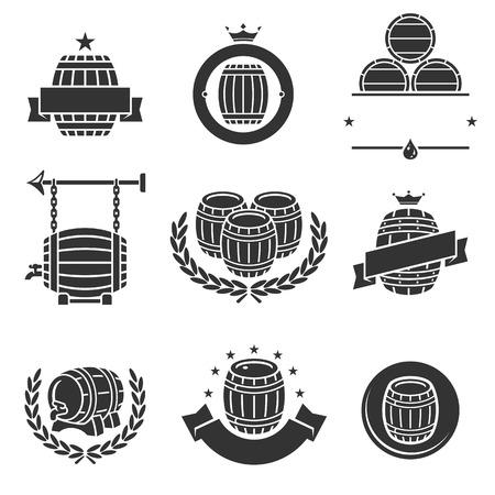 Beczki etykiety zestaw kolekcji. Ilustracje wektorowe