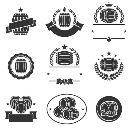 barrels set: Barrels label collection set.