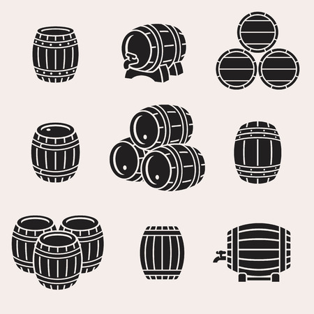 wooden barrel: Barrels set.
