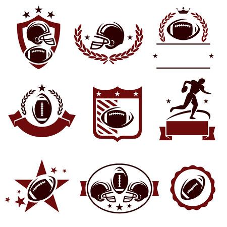 pelota rugby: Etiquetas de Fútbol y iconos conjunto. Vector