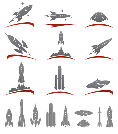 booster: Rockets collection set. Vector