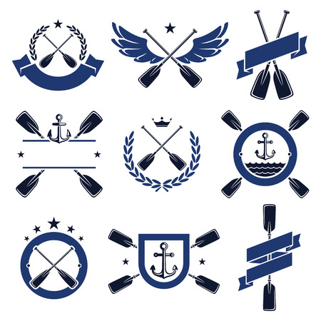 oars: paddle labels and elements set. Vector