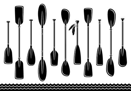 in oars: paddle set. Vector Illustration