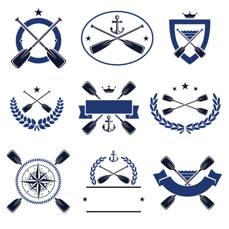 rowing boat: paddle labels and elements set. Vector